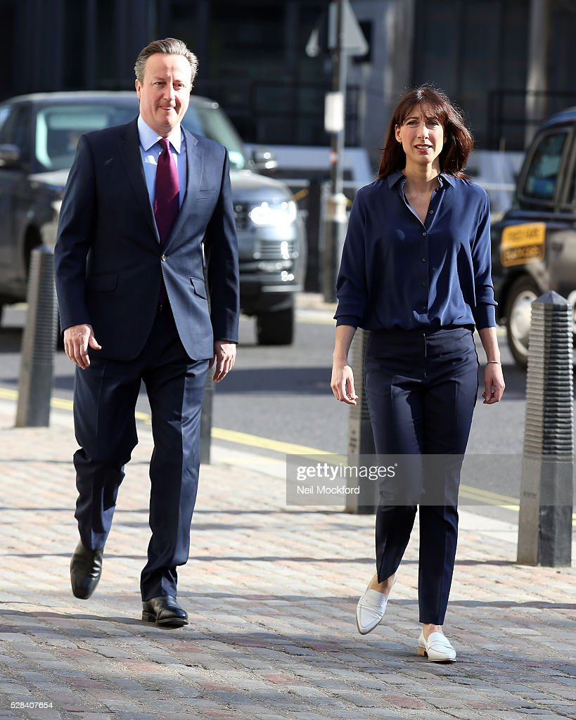<a gi-track='captionPersonalityLinkClicked' href=/galleries/search?phrase=David+Cameron+-+Pol%C3%ADtico&family=editorial&specificpeople=227076 ng-click='$event.stopPropagation()'>David Cameron</a> and <a gi-track='captionPersonalityLinkClicked' href=/galleries/search?phrase=Samantha+Cameron&family=editorial&specificpeople=624344 ng-click='$event.stopPropagation()'>Samantha Cameron</a> arrive to cast their votes in the London Mayoral Election on May 05, 2016 in London, England. This is the fifth mayoral election since the position was created in 2000. Previous London Mayors are Ken Livingstone for Labour and more recently Boris Johnson for the Conservatives. The main candidates for 2016 are Sadiq Khan, Labour, Zac Goldsmith , Conservative, Sian Berry, Green, Caroline Pidgeon, Liberal Democrat, George Galloway, Respect, Peter Whittle, UKIP and Sophie Walker, Woman's Equality Party. Results will be declared on Friday 6th May.