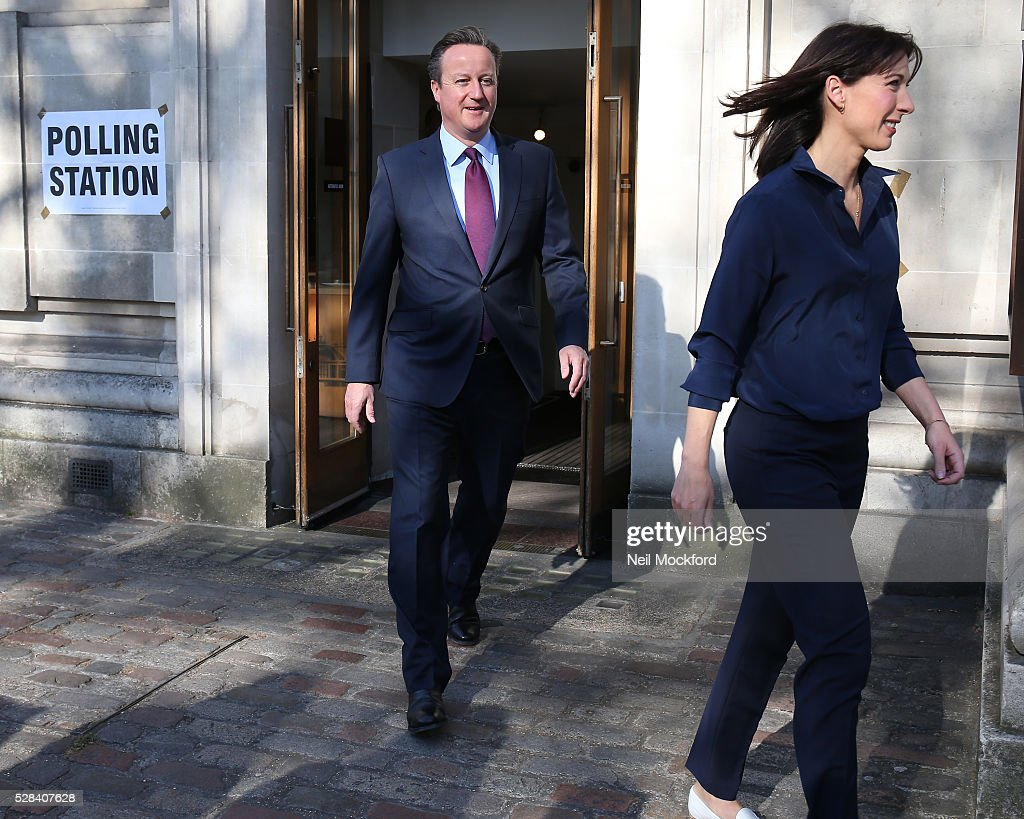 <a gi-track='captionPersonalityLinkClicked' href=/galleries/search?phrase=David+Cameron+-+Pol%C3%ADtico&family=editorial&specificpeople=227076 ng-click='$event.stopPropagation()'>David Cameron</a> and <a gi-track='captionPersonalityLinkClicked' href=/galleries/search?phrase=Samantha+Cameron&family=editorial&specificpeople=624344 ng-click='$event.stopPropagation()'>Samantha Cameron</a> cast their votes in the London Mayoral Election on May 05, 2016 in London, England. This is the fifth mayoral election since the position was created in 2000. Previous London Mayors are Ken Livingstone for Labour and more recently Boris Johnson for the Conservatives. The main candidates for 2016 are Sadiq Khan, Labour, Zac Goldsmith , Conservative, Sian Berry, Green, Caroline Pidgeon, Liberal Democrat, George Galloway, Respect, Peter Whittle, UKIP and Sophie Walker, Woman's Equality Party. Results will be declared on Friday 6th May.