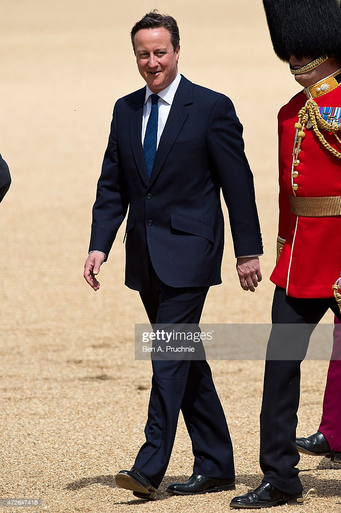 David Cameron attends the VE Day Parade at Hose Guards Parade on May 10, 2015 in London, England.