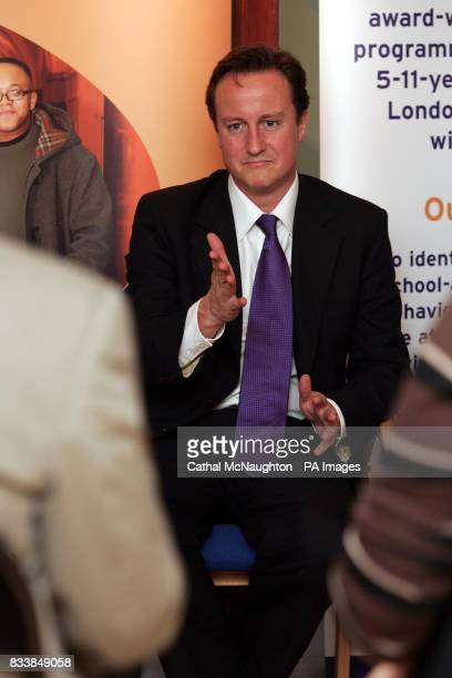 David Cameron before delivering a speech about the need to 'make British poverty history' and reform the welfare system at Chance UK Finsbury Park...
