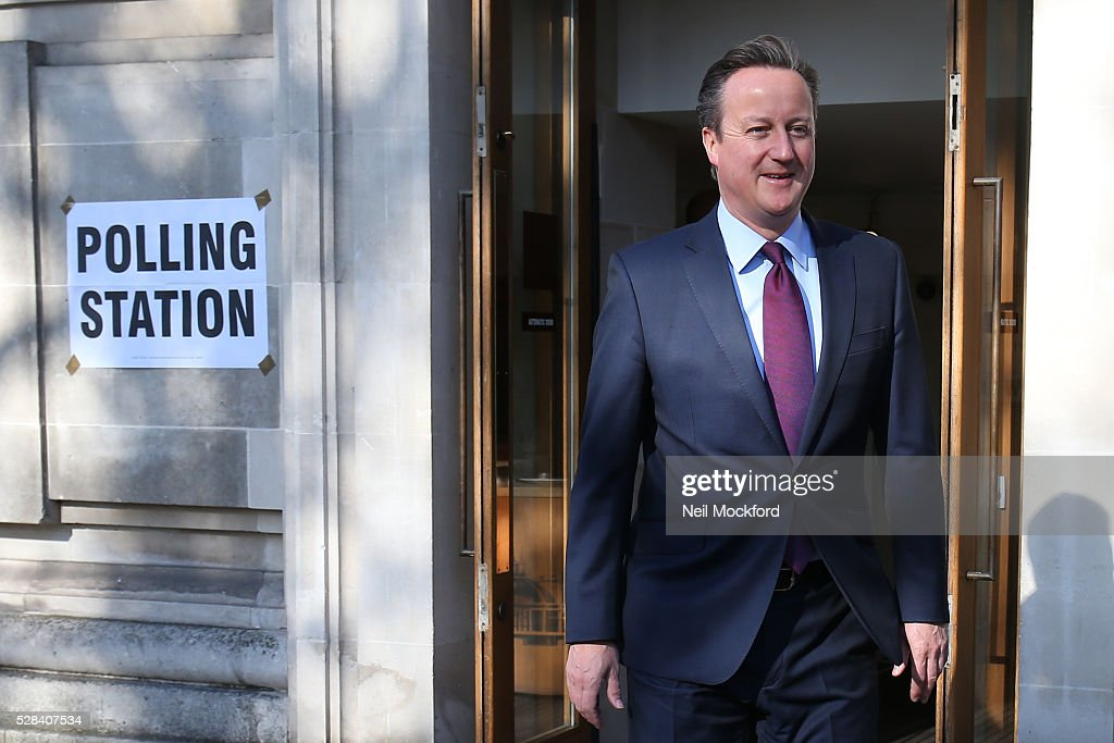<a gi-track='captionPersonalityLinkClicked' href=/galleries/search?phrase=David+Cameron+-+Pol%C3%ADtico&family=editorial&specificpeople=227076 ng-click='$event.stopPropagation()'>David Cameron</a> casts his vote in the London Mayoral Election on May 05, 2016 in London, England. This is the fifth mayoral election since the position was created in 2000. Previous London Mayors are Ken Livingstone for Labour and more recently Boris Johnson for the Conservatives. The main candidates for 2016 are Sadiq Khan, Labour, Zac Goldsmith , Conservative, Sian Berry, Green, Caroline Pidgeon, Liberal Democrat, George Galloway, Respect, Peter Whittle, UKIP and Sophie Walker, Woman's Equality Party. Results will be declared on Friday 6th May.