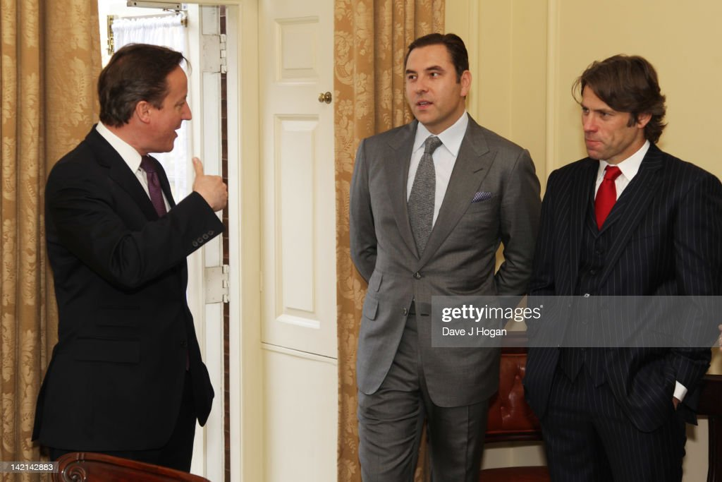 L-R David Cameron, David Walliams and John Bishop attend a tea reception to congratulate Sport Relief 2012 celebrity challengers at No. 10 Downing Street on March 30, 2012 in London, England.