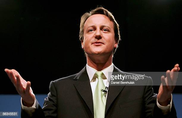 David Cameron gestures during his acceptance speech on December 6 2005 in London David Cameron has been elected as the new Conservative Party leader...