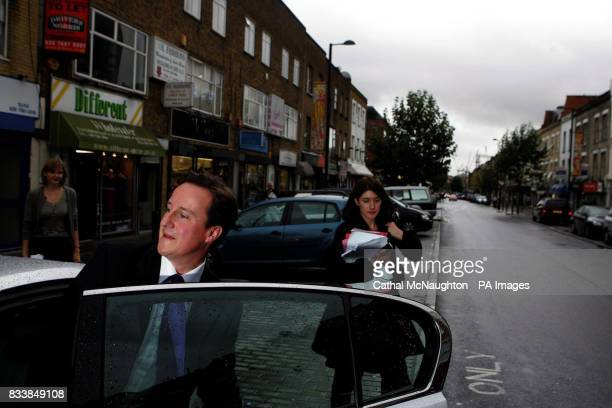 David Cameron in Finsbury Park London after delivering a speech about the need to 'make British poverty history' and reform the welfare system at...