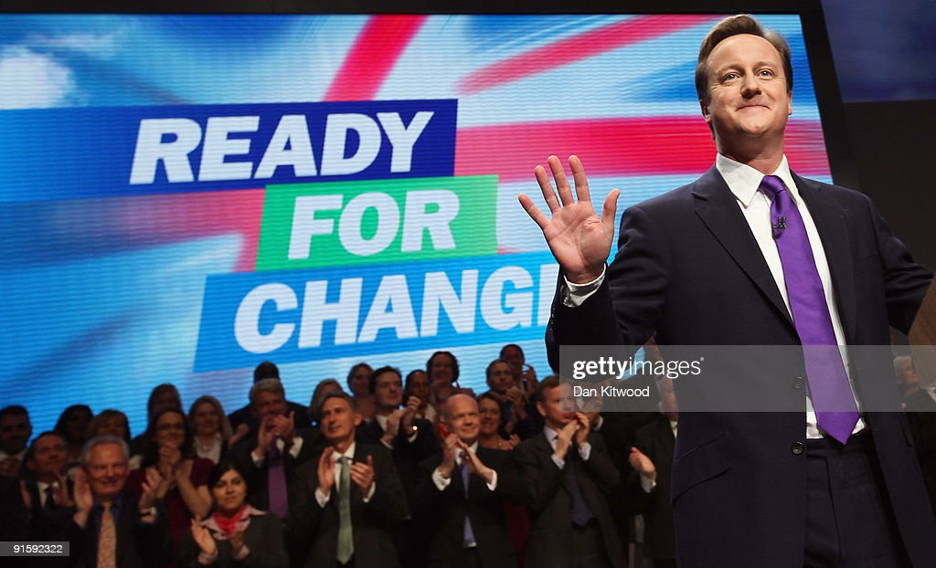 David Cameron leader of the Conservative Party delivers his keynote speech to delegates on the last day of the 2009 Conservative Conference at...
