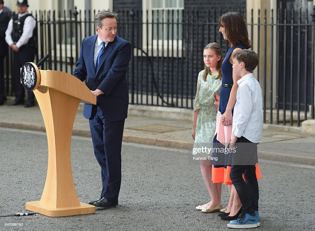 David Cameron leaves 10 Downing Street with Samantha and the children on July 13, 2016 in London, England. David Cameron leaves Downing Street today having been Prime Minister of the United Kingdom since May 2010 and Leader of the Conservative Party since December 2005. He is succeeded by former Home Secretary Theresa May and will remain as Member of Parliament for Witney in Oxfordshire.