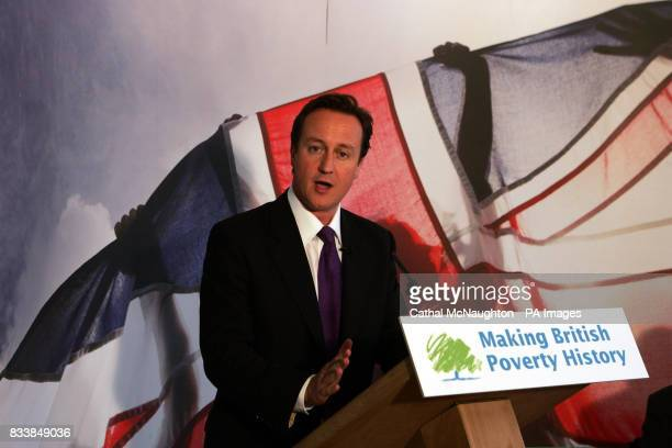 David Cameron prepares delivers about the need to 'make British poverty history' and reform the welfare system at Chance UK Finsbury Park London