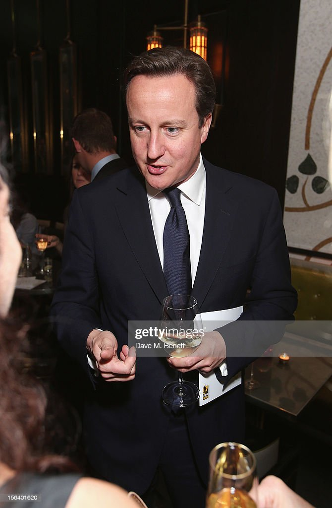 David Cameron shows armed forces support at the 'Give Us Time' fundraiser held at Corinthia Hotel London on November 14, 2012 in London, England.