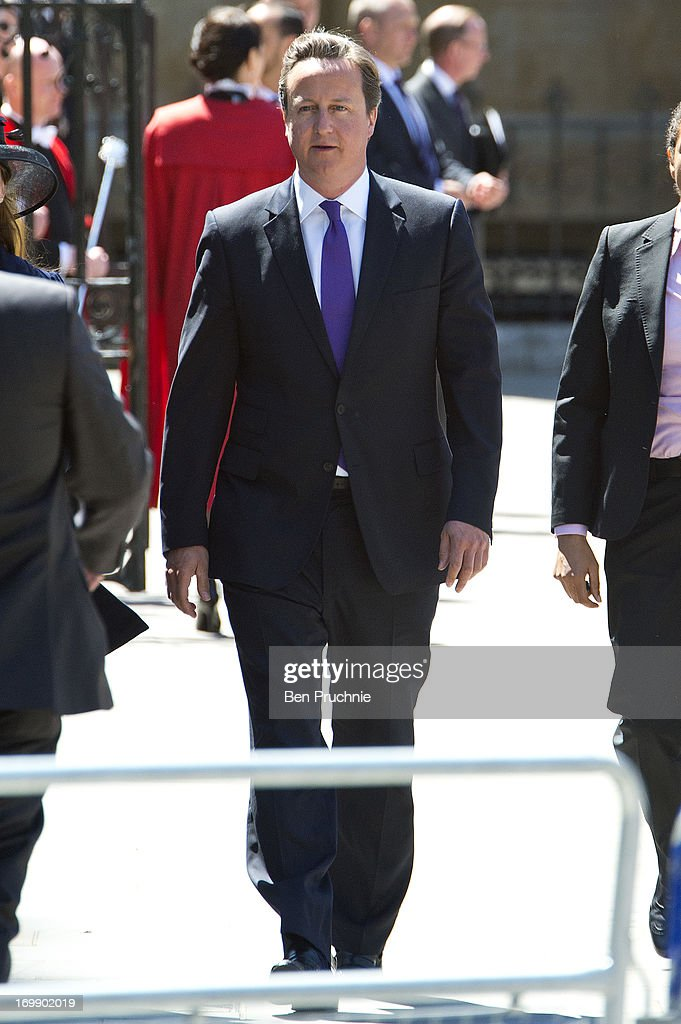 <a gi-track='captionPersonalityLinkClicked' href=/galleries/search?phrase=David+Cameron+-+Politician&family=editorial&specificpeople=227076 ng-click='$event.stopPropagation()'>David Cameron</a> sighted departing the Service Of Celebration For The 60th Anniversary Of The Queen's Coronation on June 4, 2013 in London, England.