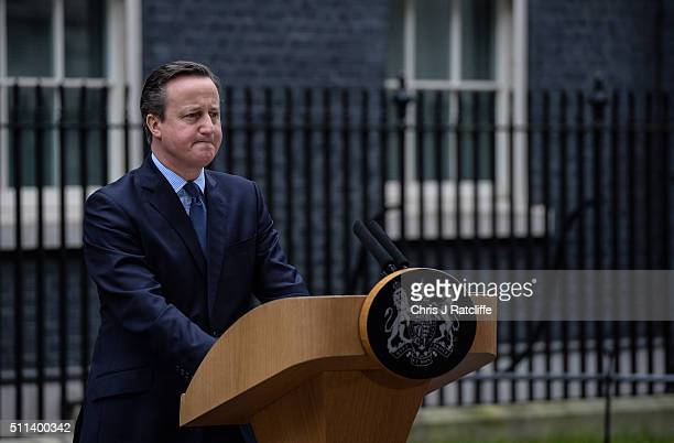 David Cameron speaks to the press following a cabinet meeting at Downing Street on February 20 2016 in London England Cameron has returned to London...