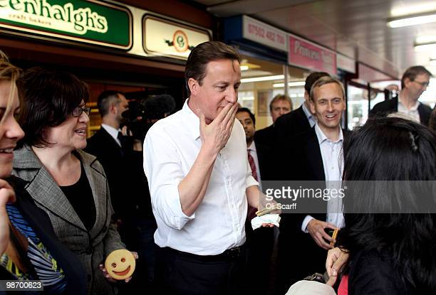 David Cameron the leader of the Conservative party visits Bury Open Market on April 27 2010 in Bury England Mr Cameron reasserted his view that...