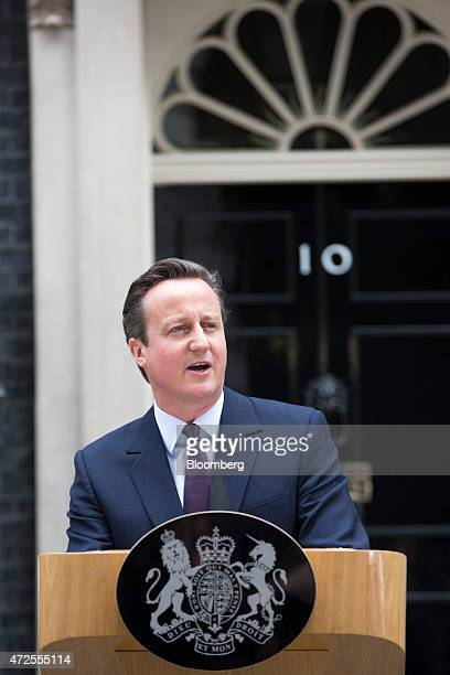 David Cameron UK prime minister and leader of the Conservative Party delivers his victory speech outside 10 Downing Street following the 2015 general...