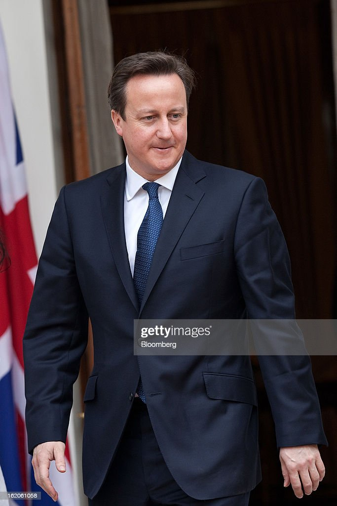 <a gi-track='captionPersonalityLinkClicked' href=/galleries/search?phrase=David+Cameron+-+Politician&family=editorial&specificpeople=227076 ng-click='$event.stopPropagation()'>David Cameron</a>, U.K. prime minister, attends a news event with Manmohan Singh, India's prime minister, unseen, at Hyderabad House in New Delhi, India, on Tuesday, Feb. 19, 2013. Cameron is on the second day of a three-day visit to the South Asian nation. Photographer: Graham Crouch/Bloomberg via Getty Images