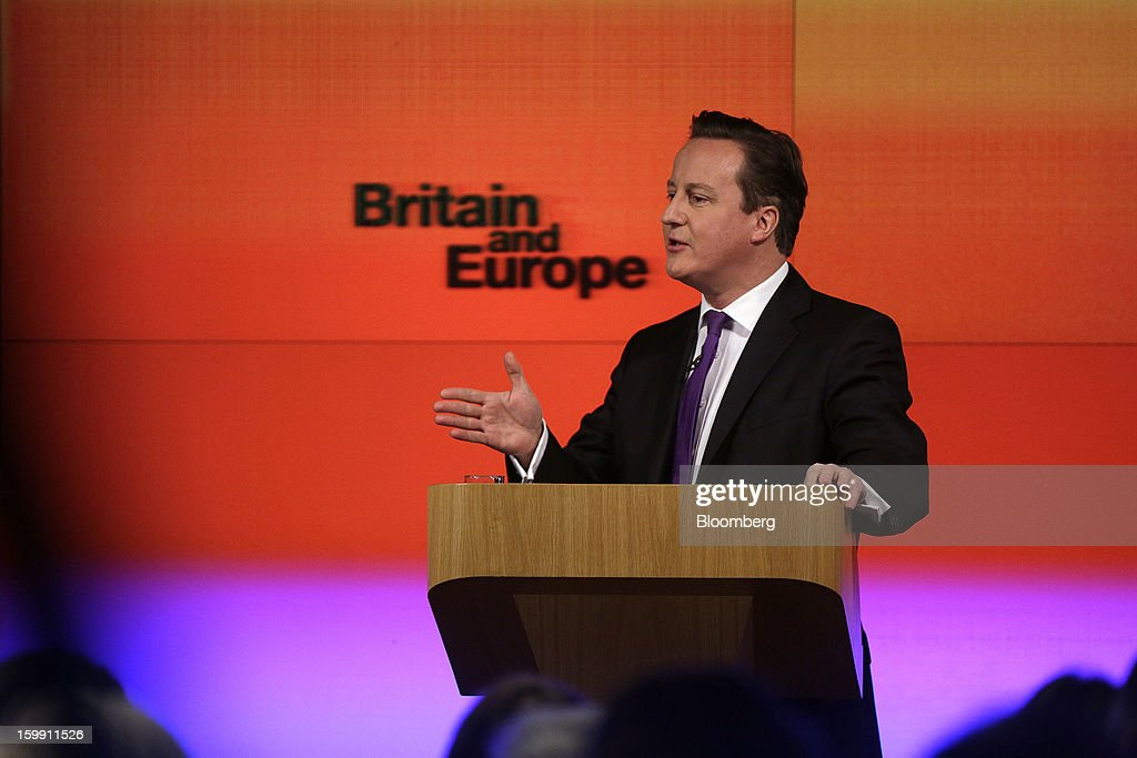 <a gi-track='captionPersonalityLinkClicked' href=/galleries/search?phrase=David+Cameron+-+Politician&family=editorial&specificpeople=227076 ng-click='$event.stopPropagation()'>David Cameron</a>, U.K. prime minister, delivers a speech on Europe at the Bloomberg L.P. offices in London, U.K., on Wednesday, Jan. 23, 2013. Cameron pledged an in-out referendum on whether Britain should leave the European Union, allowing U.K. voters to decide on breaking up the 27-nation bloc. Photographer: Matthew Lloyd/Bloomberg via Getty Images
