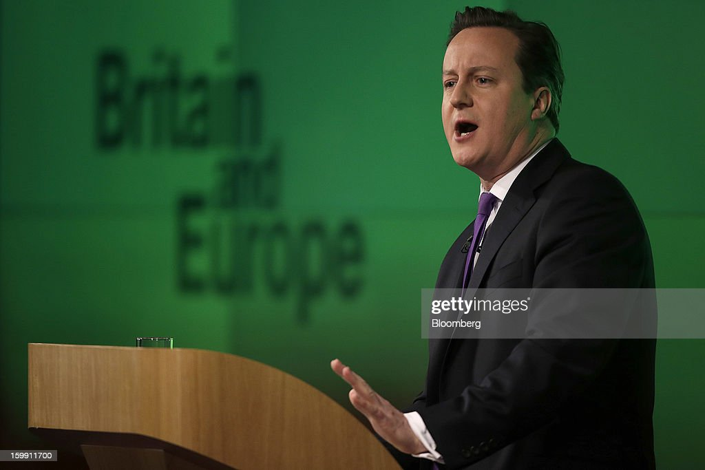 <a gi-track='captionPersonalityLinkClicked' href=/galleries/search?phrase=David+Cameron+-+Politician&family=editorial&specificpeople=227076 ng-click='$event.stopPropagation()'>David Cameron</a>, U.K. prime minister, gestures whilst delivering a speech on Europe at the Bloomberg L.P. offices in London, U.K., on Wednesday, Jan. 23, 2013. Cameron pledged an in-out referendum on whether Britain should leave the European Union, allowing U.K. voters to decide on breaking up the 27-nation bloc. Photographer: Matthew Lloyd/Bloomberg via Getty Images