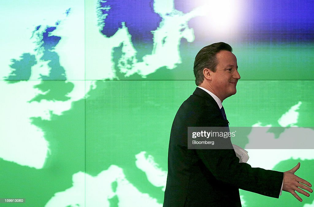 David Cameron, U.K. prime minister, passes a map of Europe after delivering a speech at the Bloomberg L.P. offices in London, U.K., on Wednesday, Jan. 23, 2013. Cameron pledged an in-out referendum on whether Britain should leave the European Union, allowing U.K. voters to decide on breaking up the 27-nation bloc. Photographer: Matthew Lloyd/Bloomberg via Getty Images