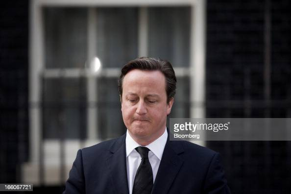 David Cameron UK prime minister pauses as he reads a statement while standing outside number 10 Downing Street following the death of former premier...
