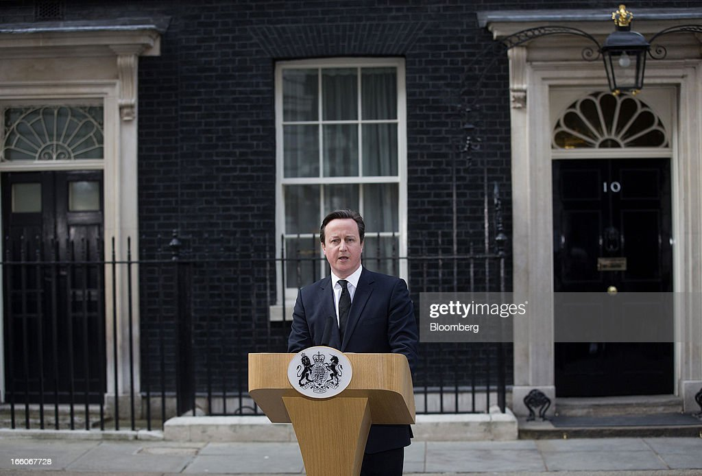 <a gi-track='captionPersonalityLinkClicked' href=/galleries/search?phrase=David+Cameron+-+Politician&family=editorial&specificpeople=227076 ng-click='$event.stopPropagation()'>David Cameron</a>, U.K. prime minister, reads a statement while standing outside number 10 Downing Street following the death of former premier Margaret Thatcher in London, U.K., on Monday, April 8, 2013. Thatcher, the former U.K. prime minister who helped end the Cold War and was known as the 'Iron Lady' for her uncompromising style, died today. She was 87. Photographer: Simon Dawson/Bloomberg via Getty Images