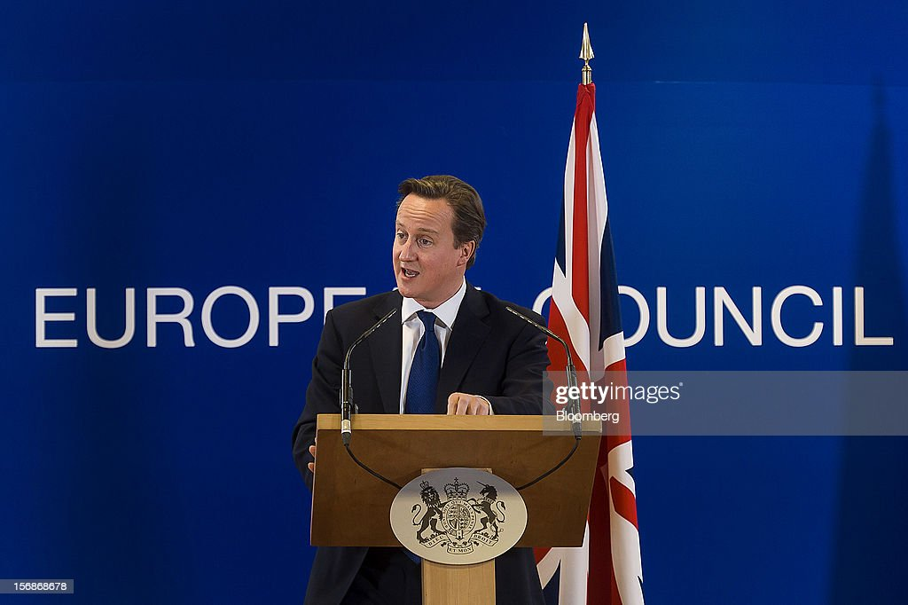 <a gi-track='captionPersonalityLinkClicked' href=/galleries/search?phrase=David+Cameron+-+Homme+politique&family=editorial&specificpeople=227076 ng-click='$event.stopPropagation()'>David Cameron</a>, U.K. prime minister, speaks at a news conference following the European Union (EU) leaders summit meeting at the European Council headquarters in Brussels, Belgium, on Friday, Nov. 23, 2012. European Union leaders deadlocked over the bloc's next seven-year budget, adding to the quarrels between rich and poor countries that have stymied the response to the euro debt crisis. Photographer: Jock Fistick/Bloomberg via Getty Images