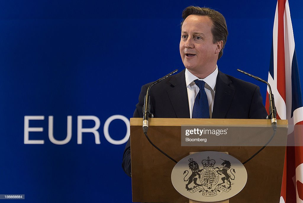 David Cameron, U.K. prime minister, speaks at a news conference following the European Union (EU) leaders summit meeting at the European Council headquarters in Brussels, Belgium, on Friday, Nov. 23, 2012. European Union leaders deadlocked over the bloc's next seven-year budget, adding to the quarrels between rich and poor countries that have stymied the response to the euro debt crisis. Photographer: Jock Fistick/Bloomberg via Getty Images