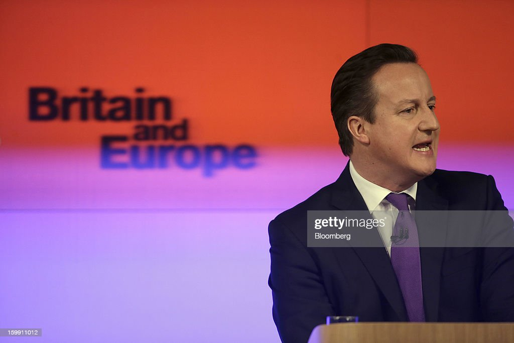 David Cameron, U.K. prime minister, speaks at an event in London, U.K., on Wednesday, Jan. 23, 2013. Cameron is responding to pressure from lawmakers in his Conservative Party for looser ties with the EU or an outright departure from the political union. Photographer: Matthew Lloyd/Bloomberg via Getty Images