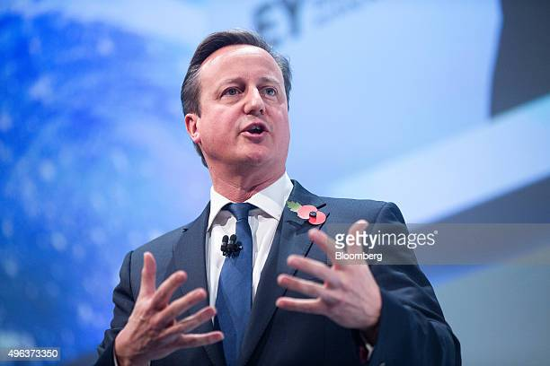 David Cameron UK prime minister speaks during the Confederation of British Industry's annual conference in London UK on Monday Nov 9 2015 The UK is...