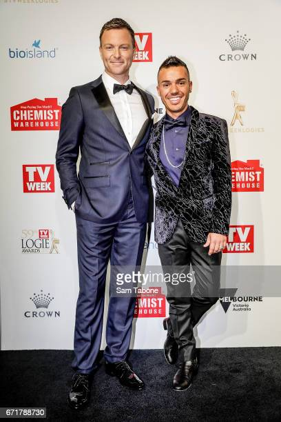 David Campbell and Anthony Callea arrives at the 59th Annual Logie Awards at Crown Palladium on April 23 2017 in Melbourne Australia