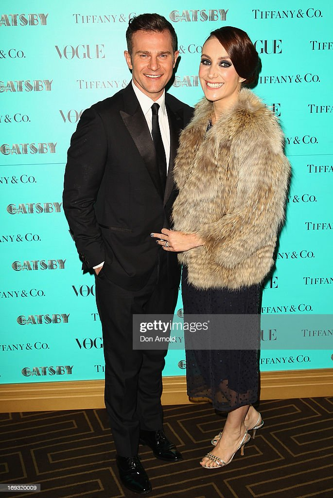 David Campbell and Lisa Hewitt arrive at the Tiffany & Co Great Gatsby dinner at Rockpool on May 23, 2013 in Sydney, Australia.