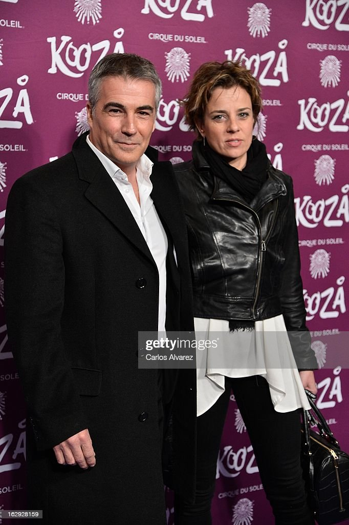 David Cantero (L) attends 'Cirque Du Soleil' Kooza 2013 premiere on March 1, 2013 in Madrid, Spain.