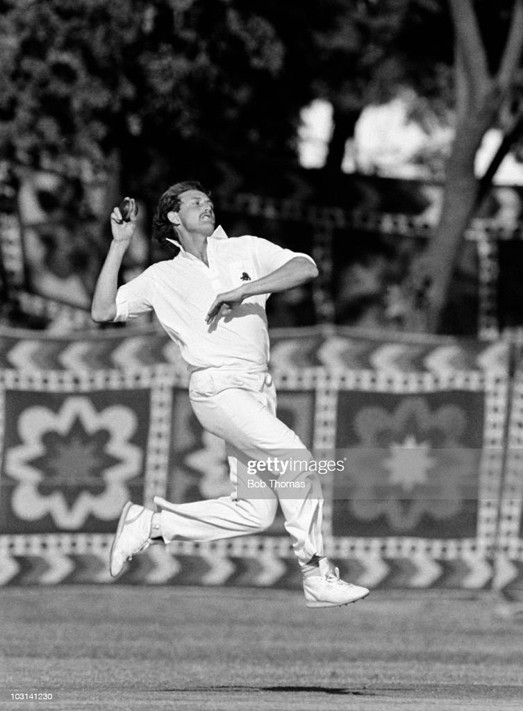David Capel bowling for England against the Presidents XI during a cricket match held in Rawalpindi India on 14th November 1987 The match was drawn