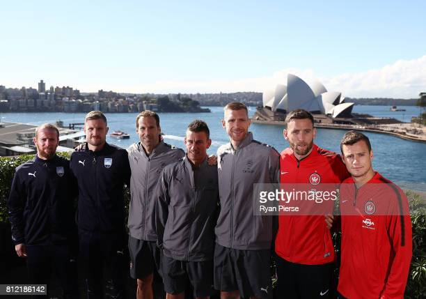 David Carney and Andrew Redmayne of Sydney FC Petr Cech Laurent Koscielny and Per Mertesacker of Arsenal Robbie Cornthwaite and Oriol Riera of...