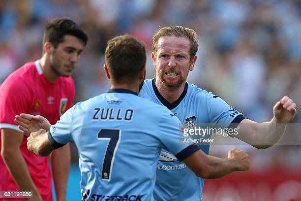 David Carney of Sydney FC celebrates his goal during the round 14 ALeague match between the Central Coast Mariners and Sydney FC at Central Coast...