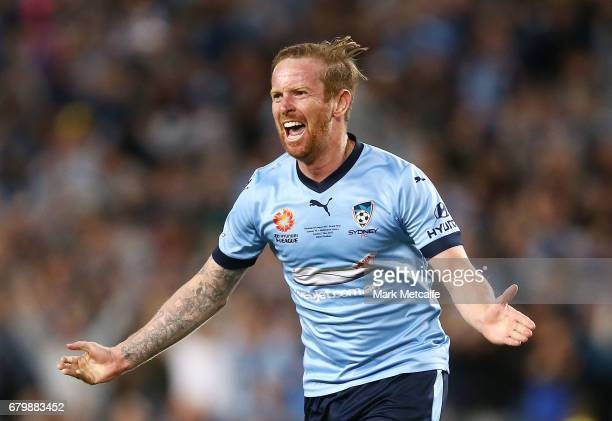 David Carney of Sydney FC celebrates scoring a goal during the 2017 ALeague Grand Final match between Sydney FC and the Melbourne Victory at Allianz...