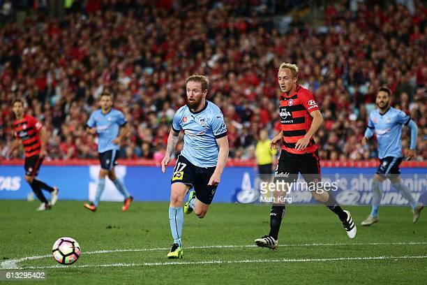 David Carney of Sydney FC controls the ball during the round one ALeague match between the Western Sydney Wanderers and Sydney FC at ANZ Stadium on...