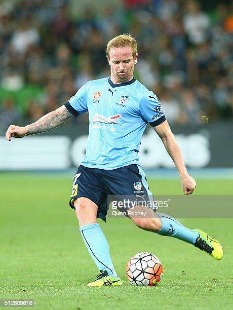 David Carney of Sydney FC kicks during the round 21 ALeague match between Melbourne Victory and Sydney FC at AAMI Park on February 27 2016 in...
