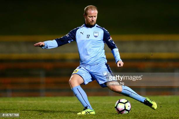 David Carney of Sydney FC kicks the ball during the 2017 Johnny Warren Challenge match between Sydney FC and Earlwood Wanderers at Leichhardt Oval on...