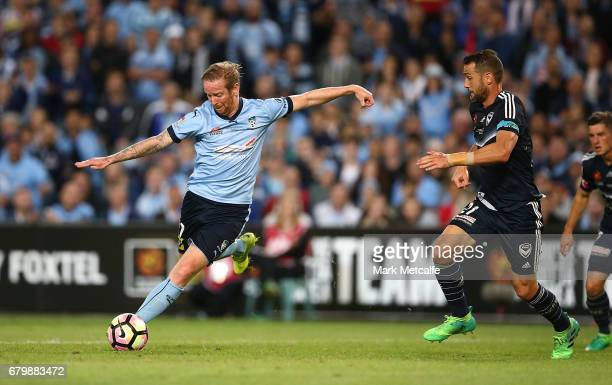 David Carney of Sydney FC scores a goal during the 2017 ALeague Grand Final match between Sydney FC and the Melbourne Victory at Allianz Stadium on...
