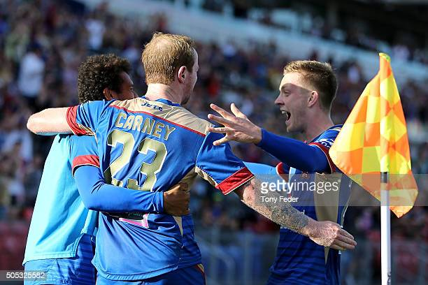 David Carney of the Jets celebrates his goal with team mates during the round 15 ALeague match between the Newcastle Jets and the Wellington Phoenix...