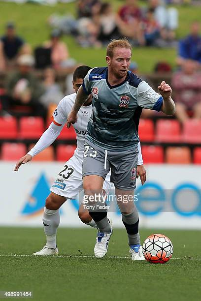 David Carney of the Jets controls the ball during the round eight ALeague match between the Newcastle Jets and Brisbane Roar at Hunter Stadium on...