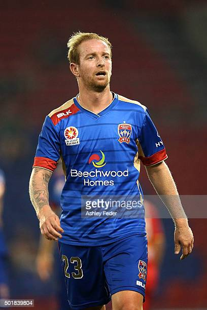 David Carney of the Jets looks on during the round 11 ALeague match between the Newcastle Jets and Adelaide United at Hunter Stadium on December 18...