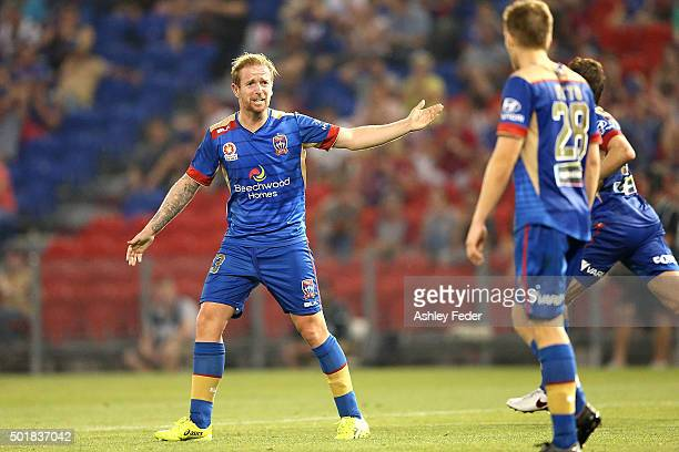 David Carney of the Jets reacts to his team during the round 11 ALeague match between the Newcastle Jets and Adelaide United at Hunter Stadium on...
