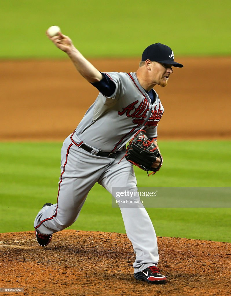 <a gi-track='captionPersonalityLinkClicked' href=/galleries/search?phrase=David+Carpenter&family=editorial&specificpeople=1554475 ng-click='$event.stopPropagation()'>David Carpenter</a> #48 of the Atlanta Braves pitches during a game against the Miami Marlins at Marlins Park on September 12, 2013 in Miami, Florida.