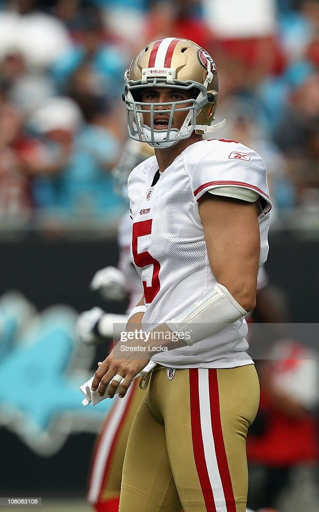 David Carr of the San Francisco 49ers against the Carolina Panthers during their game at Bank of America Stadium on October 24 2010 in Charlotte...