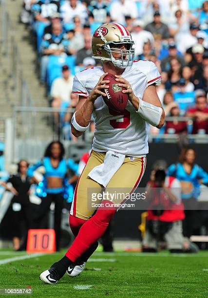 David Carr of the San Francisco 49ers passes against the Carolina Panthers at Bank of America Stadium on October 24 2010 in Charlotte North Carolina