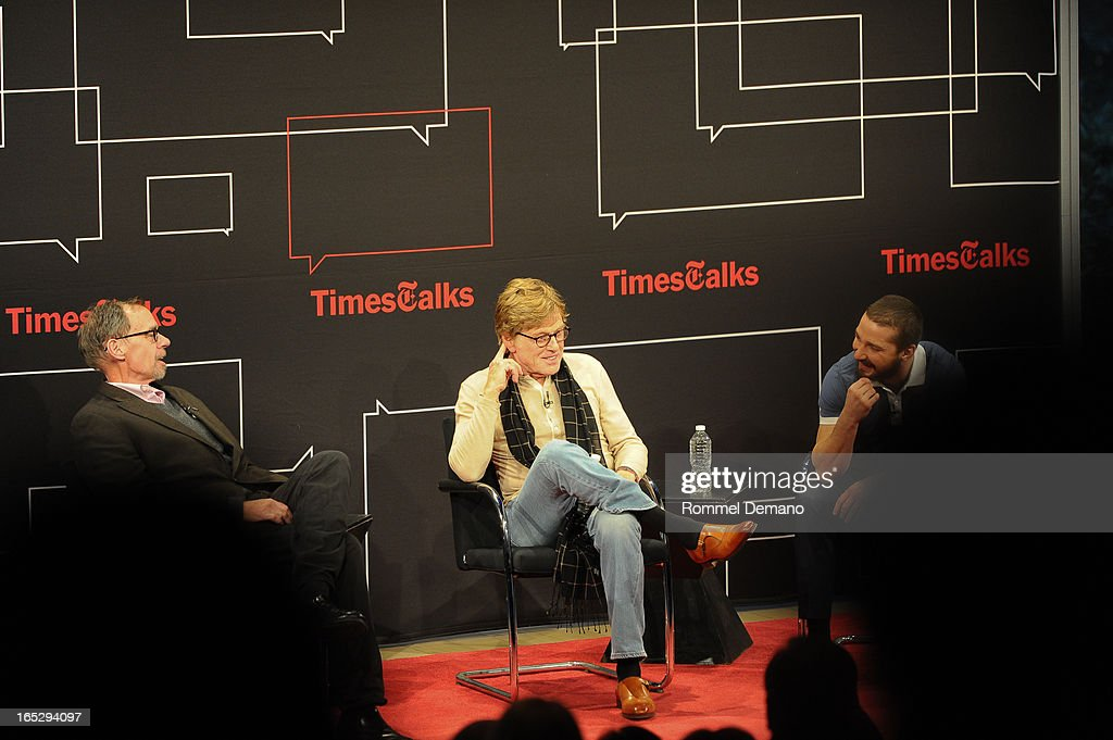 David Carr, Robert Redford and Shia LaBeouf attend TimesTalks Presents: 'The Company You Keep' at TheTimesCenter on April 2, 2013 in New York City.
