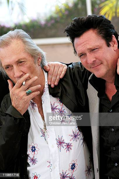 David Carradine and Michael Madsen during 2004 Cannes Film Festival 'Kill Bill Vol 2' Photocall at Palais Du Festival in Cannes France
