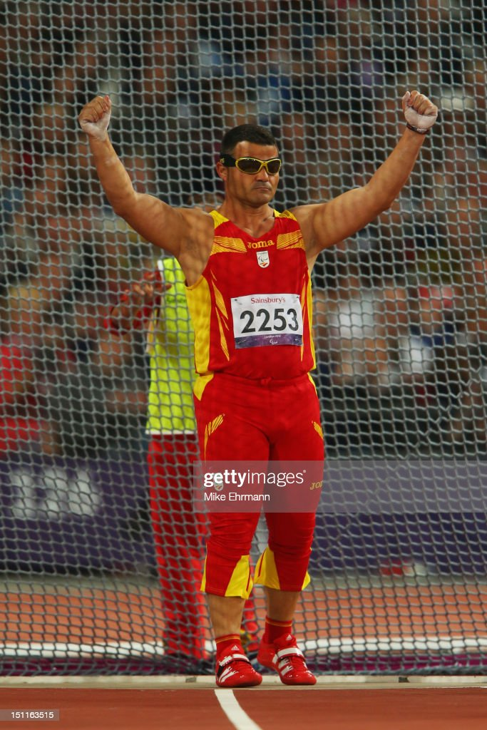 David Casino of Spain celebrates a throw in the Men's Discus Throw - F11 Final on day 4 of the London 2012 Paralympic Games at Olympic Stadium on September 2, 2012 in London, England.