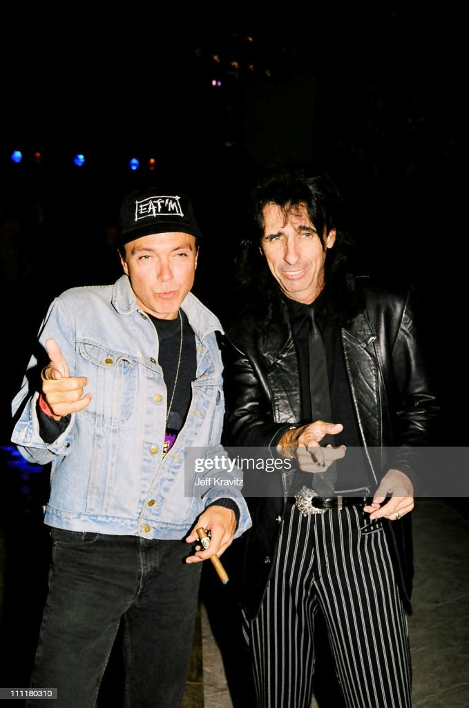 David Cassidy and Alice Cooper during 1998 Fairway to Heaven Golf Tournament in Las Vegas, Nevada, United States.
