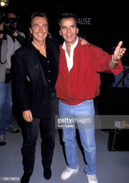 David Cassidy and Dick Clark during 40th Anniversary of 'American Bandstand' at ABC Studios in Hollywood California United States
