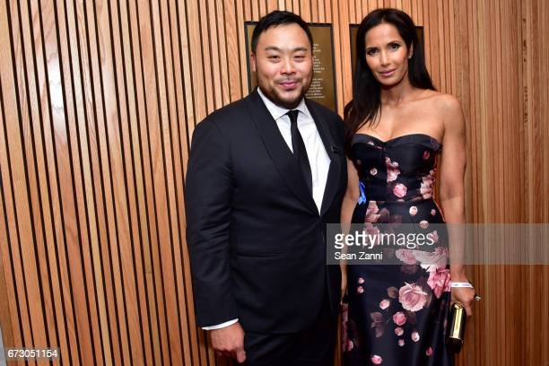 David Chang and Padma Lakshmi attend the 2017 TIME 100 Gala at Jazz at Lincoln Center on April 25 2017 in New York City